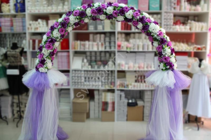 Арка свадебная фиолетово-белая (разборная на 4 части) арт. 094-021