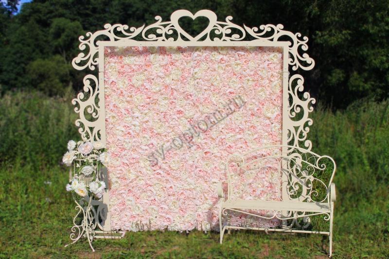 Арка свадебная+фотозона(пионы)+скамейка+декоратиная клетка, цвет Айвори, аренда 14000 руб. арт. 001-024