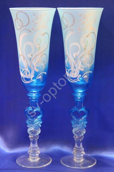 """Бокалы """"Лебеди и кольца"""" сине-голубые арт. 045-510"""