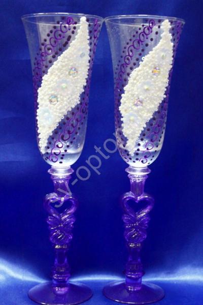 """Бокалы """"Лепка"""" (фиолетовый) бисер и стразы арт. 045-426"""
