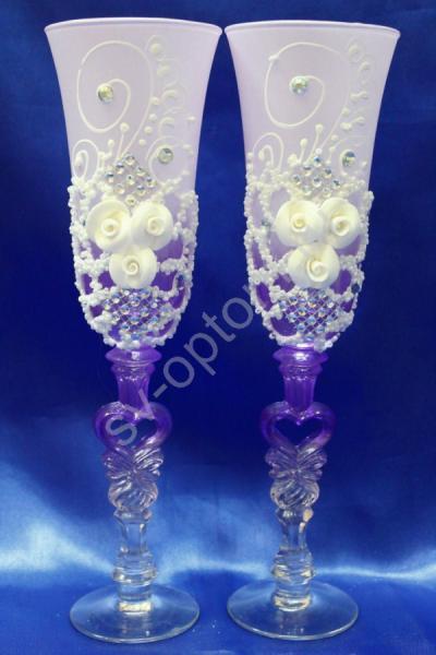 """Бокалы """"Лепка"""" (фиолетовый) три розочки и бисер арт. 045-414"""
