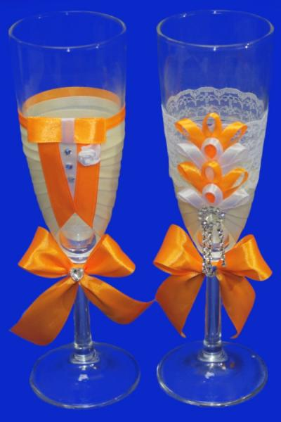 Бокалы ручной работы айвори-апельсин арт. 045-224