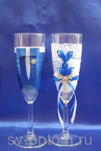 Бокалы ручной работы синие арт. 045-176