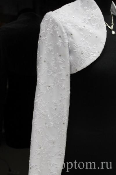 """Болеро атлас""""украшенный"""" длинный рукав. Цвет: белый.Размер(26): 42-54 арт. 014-039"""