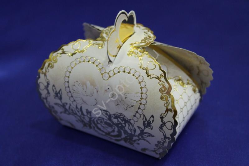 """Бонбоньерка """"Голуби"""" золото 7100157 (в упаковке 10 шт) арт. 054-002"""