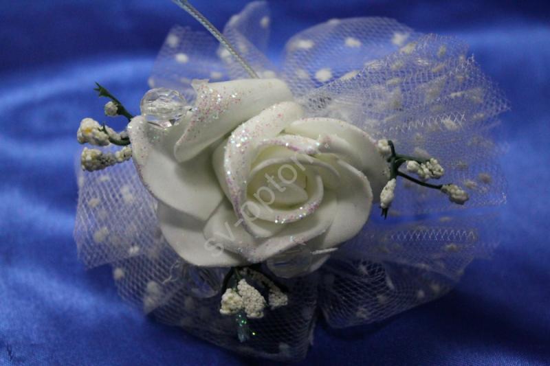 Браслет металлический с белой латексной розой арт.044-129