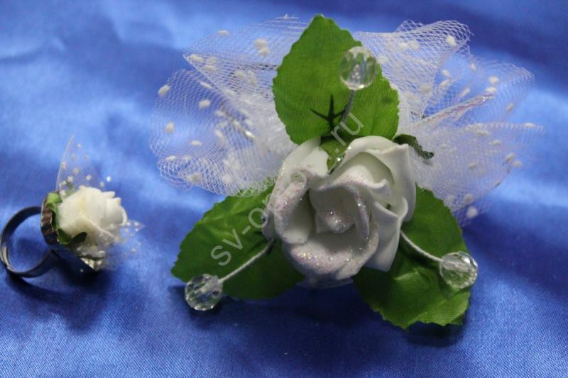 Браслет металлический с белой латексной розой и колечко арт.044-132
