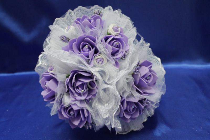 """Букет """"Тройняшка"""" с латексными фиолетовыми розами арт. 020-200"""
