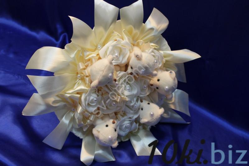 Букет айвори с мишками и латексными розами айвори арт. 020-044 Свадебные букеты и бутоньерки в России