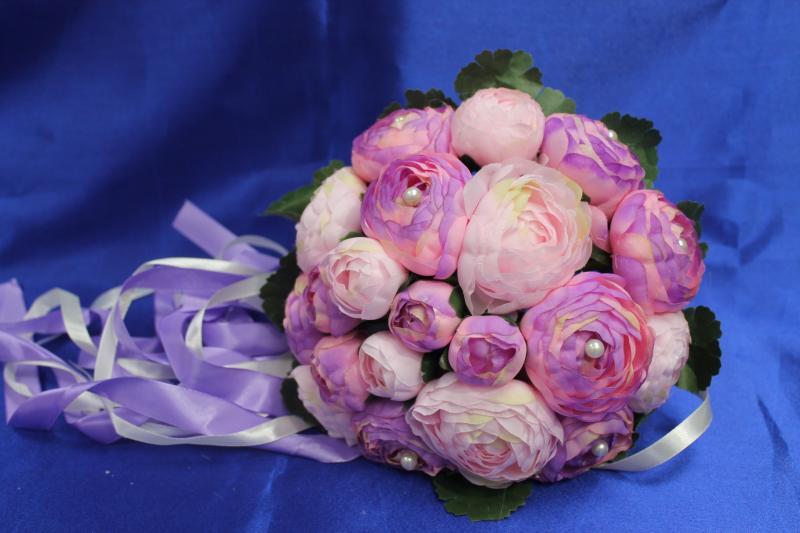 Букет дублер сиреневые и розовые пионы арт. 020-053