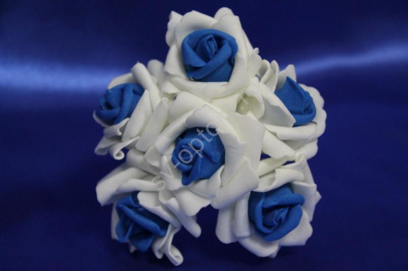 Букет из латексных цветов бело-синий (1 цветок 40мм) стоимость букета арт. 139-081