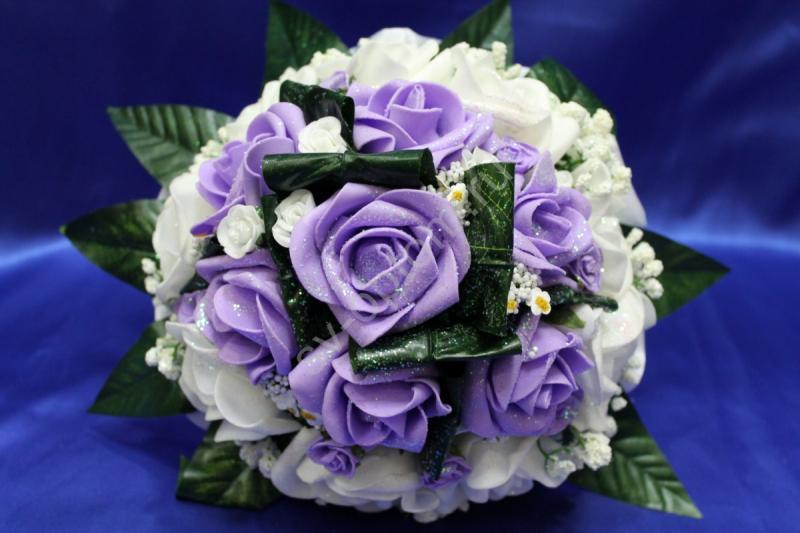 Букет латексный с белыми и фиолетовыми розами арт. 020-181