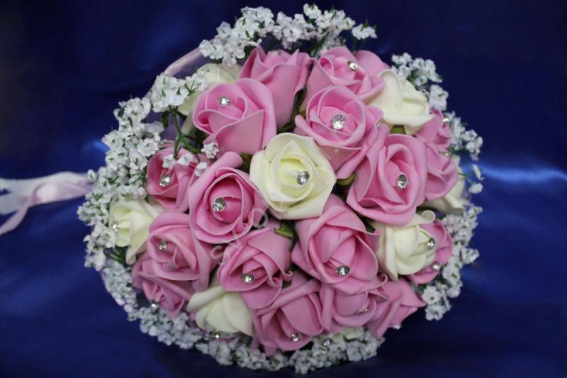 Букет латексный с розовыми и айвори розами, стразами арт. 020-131