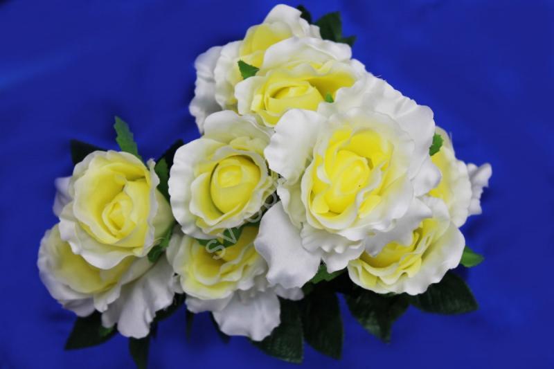 Букет розы бело-желтые 9 голов арт. 138-084