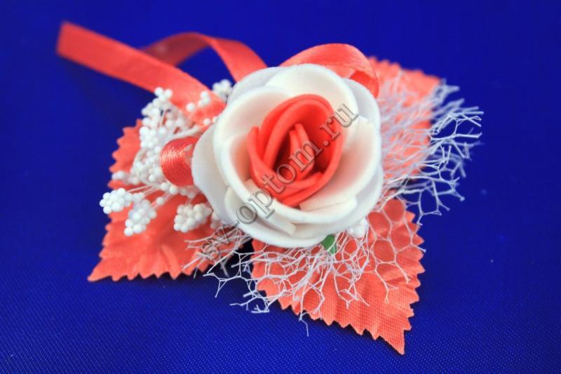 Бутоньерка Цвет:  коралловый арт. 021-112