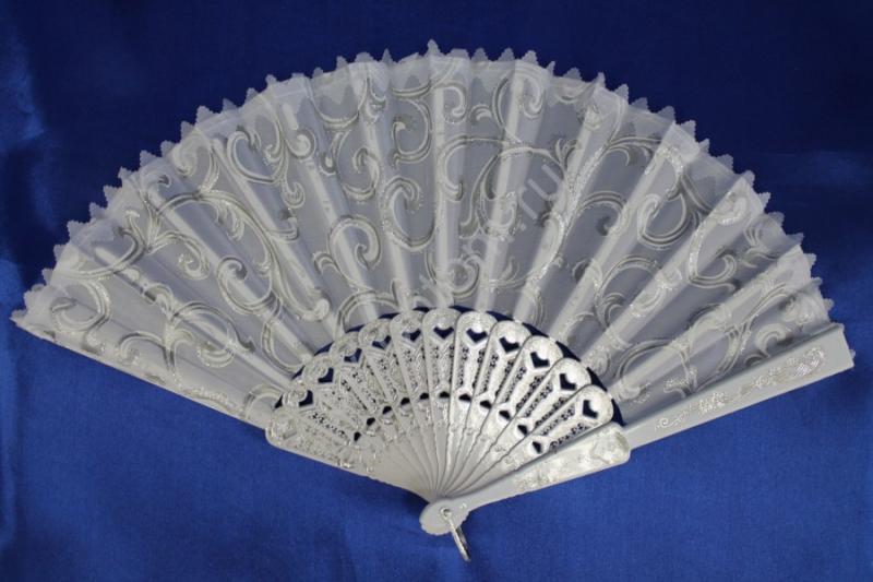 Веер белый в серебре арт. 031-056