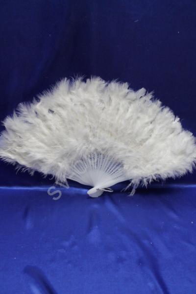Веер белый с пухом арт. 031-057