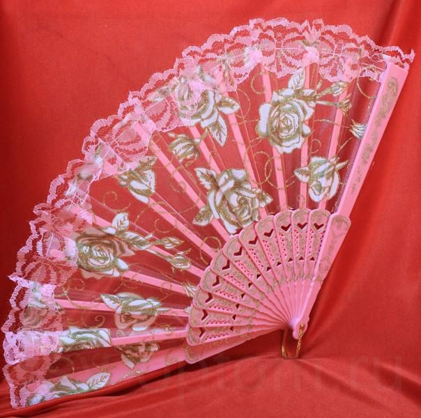 Веер кружевной цвет розовый арт. 031-049