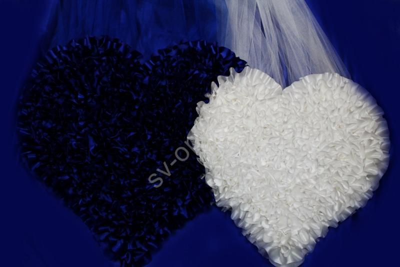Двойное сердце сине-белое атласное арт.120-101