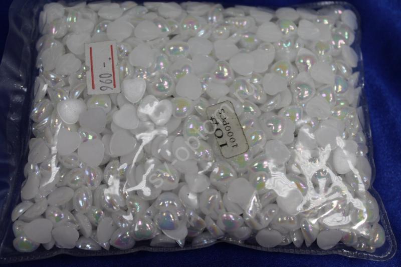 Жемчуг (сердечки половинки) белый перламутр 10мм 1000шт. арт.142-031