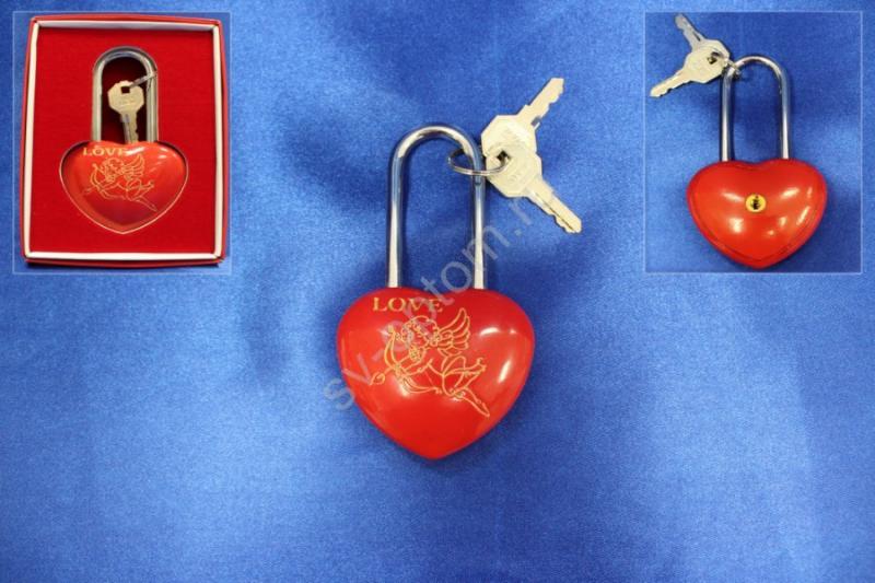 """Замок """"Love"""" 11см; Красный; В коробочке; арт.072-060"""
