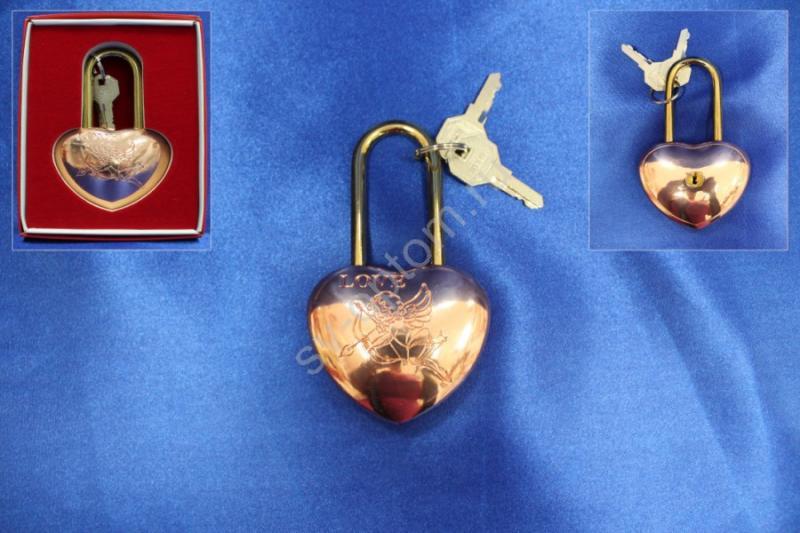 """Замок """"Love"""" 11см; медь блестящая в коробочке; арт. 072-059"""