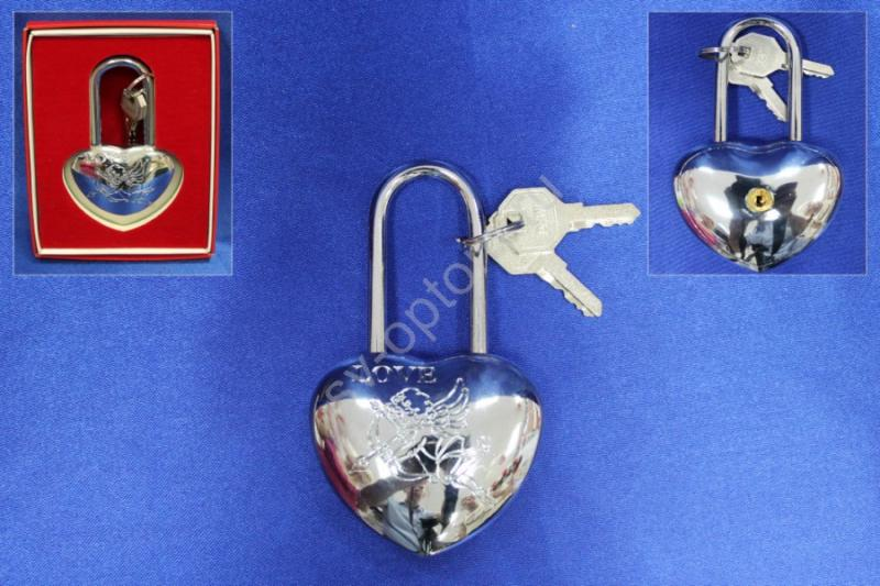 """Замок """"Love"""" 11см; Серебро; В коробочке; арт. 072-058"""