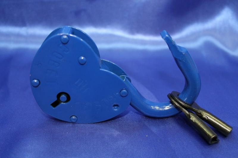 """Замок большой синий с надписью """"Совет да любовь"""" арт.072-048"""