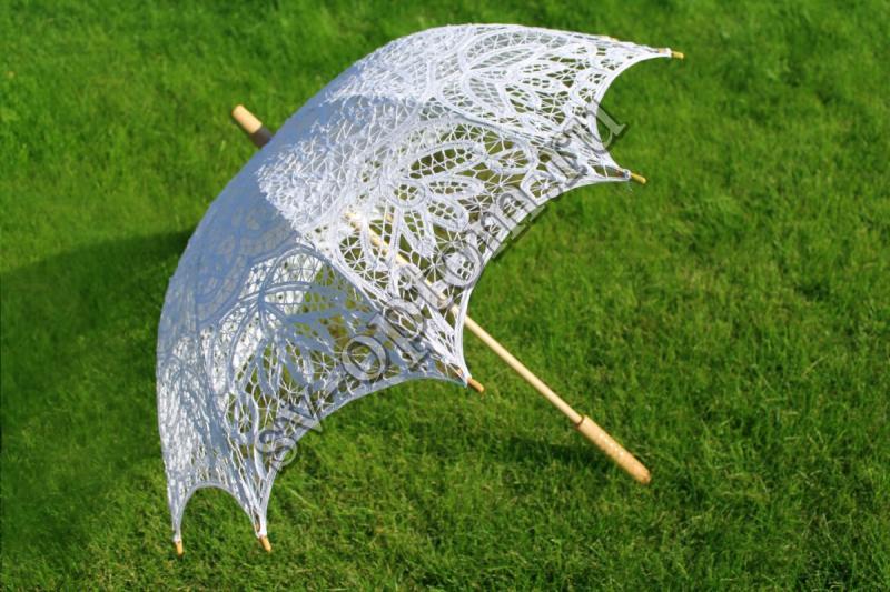 """Зонтик гипюровый  """"Из Венеции"""" белый прямая ручка арт. 031-016"""