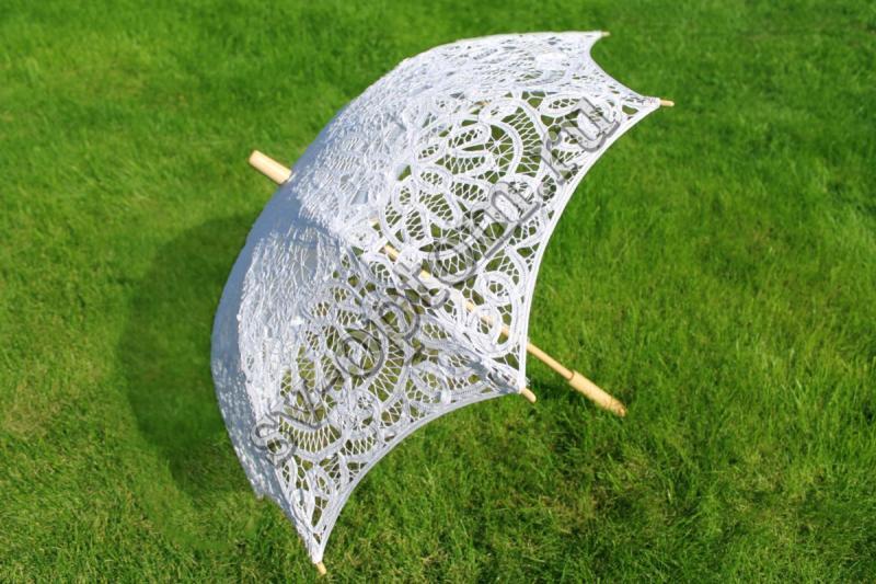 """Зонтик гипюровый """"Из Венеции"""" белый прямая ручка арт. 031-012"""