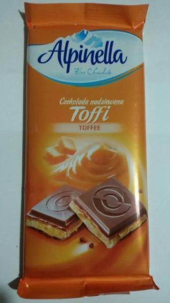Молочный шоколад с карамельной начинкой Alpinella Toffee , 100 гр