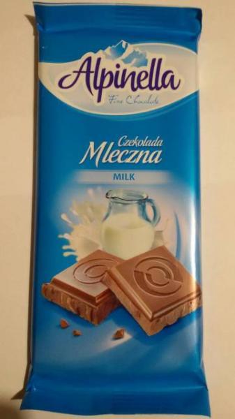Молочный шоколад Alpinella Mleczna , 90 гр