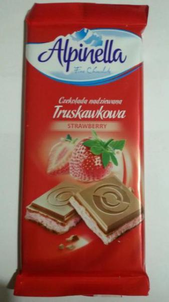 Молочный шоколад с клубничной начинкой Alpinella Strawberry , 100 гр