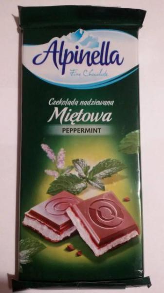 Молочный шоколад с мятной начинкой Alpinella Mietowa , 100 гр