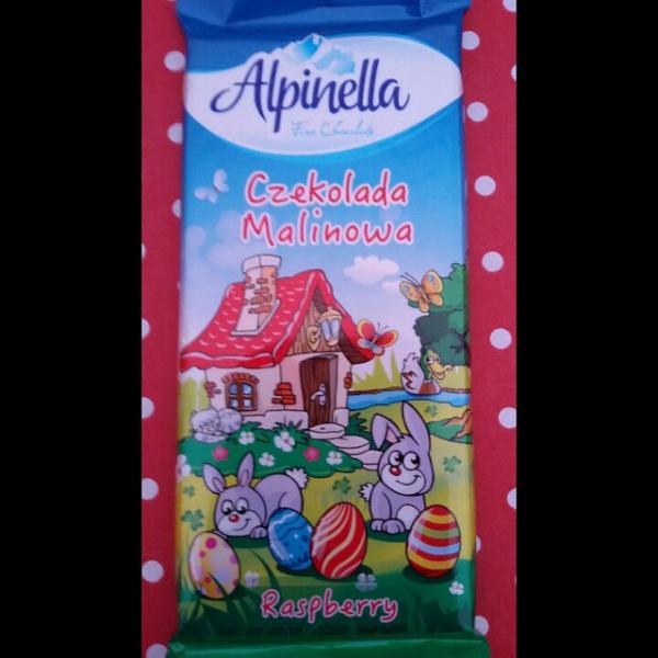 Молочный шоколад с малиной Alpinella Mleczna , 90 гр