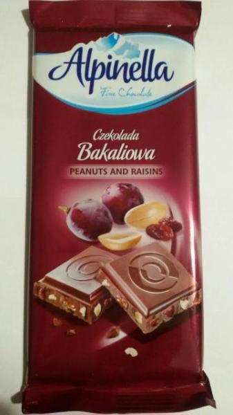 Молочный шоколад с орехами и изюмом Alpinella Bakaliowa , 90 гр