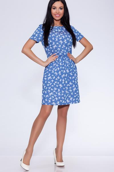 платье (Цвет: набивной джинс) 682-621