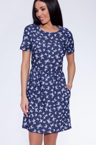 платье (Цвет: набивной джинс) 682-638