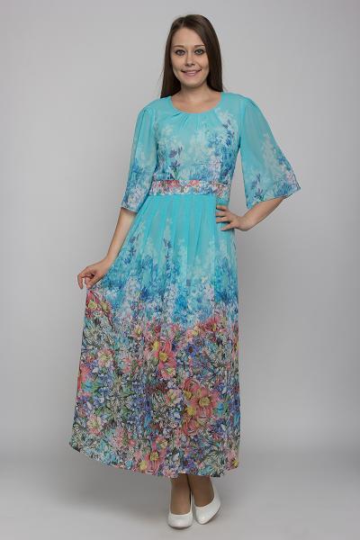 Платья и сарафаны 619-298 (Цвет: набивной шифон) 619-298