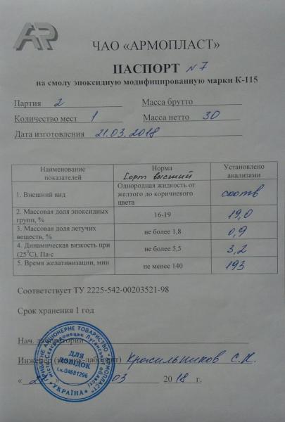 Компаунд (смола эпоксидная модифицированная )К-115