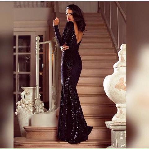 Платье паетки длинная рукав