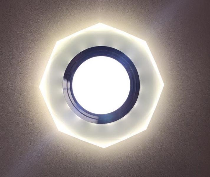 Светильник встраиваемый D0801+LED со светодиодной подсветкой матовый (арт.2-95)