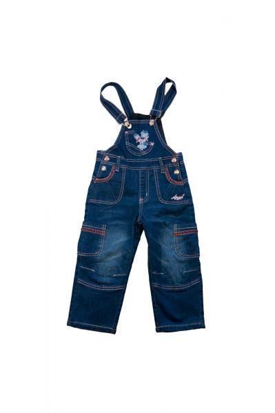 Комбинезон джинсовый для девочек на флисе для девочек 3440B-1