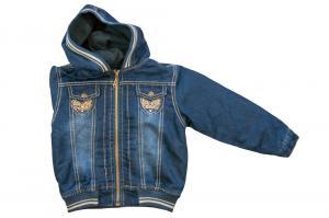 Фото Куртки джинсовые  оптом Куртки джинсовые на флисе для девочек для девочек 3477B