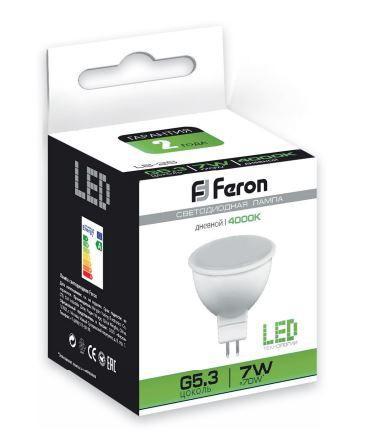 Светодиодная лампа Feron 7W MR16 GU5.3 4000k белый (арт.0-92)