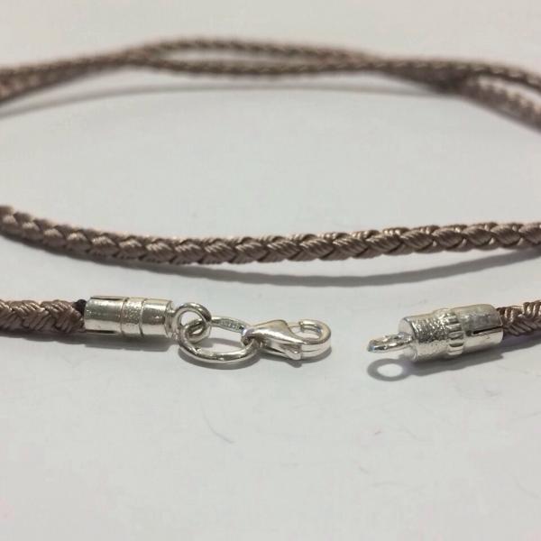 Шёлковый шнур плетёный Милан ,с серебряными концевиками
