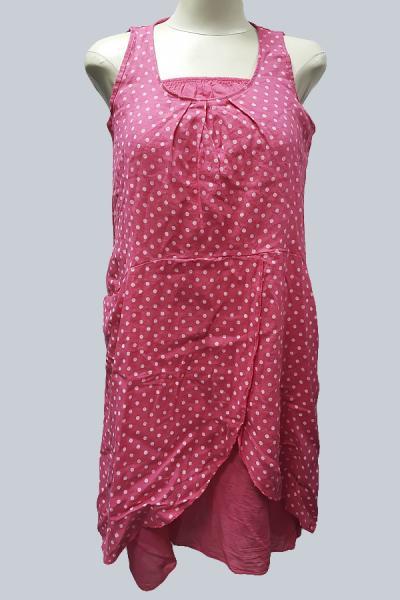 Модель 6820 - модная двойка из 100% - го льна.Сарафан в мелкий горох и пышная нежная юбка