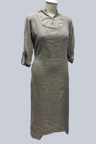 Модель 6907 - Модная двойка из 100% льна.Рубашка с длинными рукавами и удлиненный сарафан