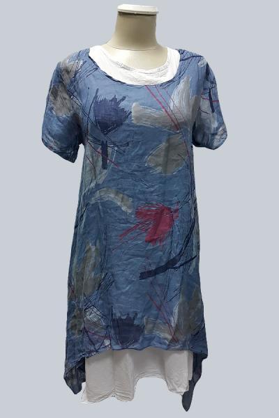 Модель 6991 - Модная двойка изо льна.Платье с короткими рукавами , с ассиметричным подолом и белая нижняя рубашка.