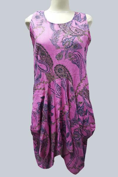 Модель 15081 - Модный сарафан изо льна,оригинального кроя с изысканным принтом